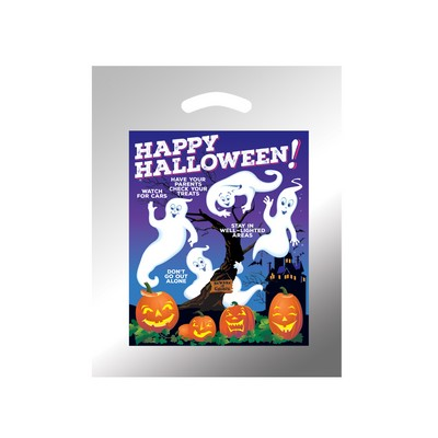 Halloween Stock Design Silver Reflective Die Cut Bag • Ghosts w/Pumpkins